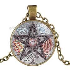 Pentagram Glass Cabochon Pendant Bronze Chain Necklace Pentacle Wicca Spiritual