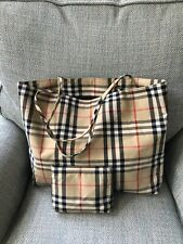 Burberry Iconic Check Shoulder Bag Shopper Tote W/ Matching Pouch