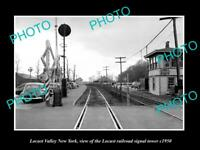 OLD LARGE HISTORIC PHOTO OF LOCUST VALLEY NEW YORK, RAILROAD SIGNAL TOWER c1950