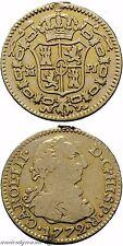 SPAIN GOLD COIN 1/2 ESCUDO MADRID PJ CAROLUS III 1772 AD