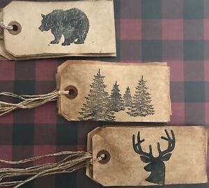 PRIMITIVE COFFEE STAINED HANGTAGS ~WOODSY~18 TAGS