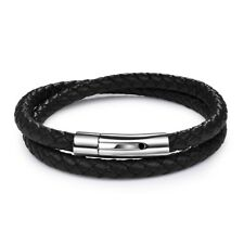 Double Layer Leather Bracelet Stainless Steel Black Coffee Double Layer For Men