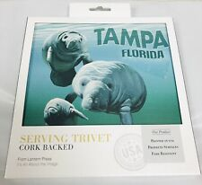 """Serving Trivet Corked Backed 7"""" x 7"""" Tampa Florida Manatees Artwork Kitchen Coll"""