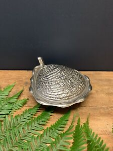 Vintage Silver Metal Oyster Clam Shell Soap Dish with Lid & Glass Dish Insert