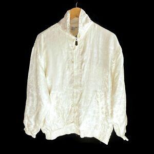 Womens Vintage Silk Bomber Jacket 1990's 90's Retro Oversized Size Medium
