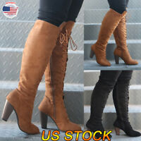 Womens Lady Genuine Leather High Wedge Heels Shoes Zip Up Knee High Boots Shoes
