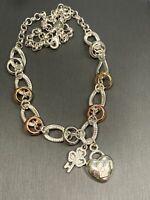 "Vintage Rhinestone Heart Lock & Key Pendant Necklace W/ Silver tone chain 16"""
