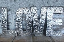 Large Silver LOVE Aluminium & Wood Letters Wall Hanging Wedding/ Anniversary