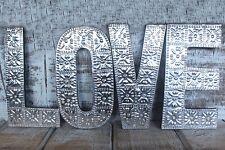 AMORE Argento in Alluminio e Lettere di Legno Muro Appeso MATRIMONIO/ANNIVERSARIO 20 cm