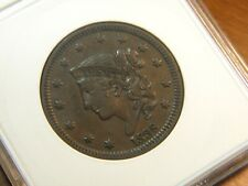 1838 CORONET LARGE CENT N-1 ANACS XF-40 VERY PLEASING COIN GRADED 30+ YRS AGO