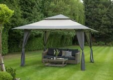 Huge 4m x 4m Gazebo Pop Up By Norfolk Leisure With Carry Bag On Wheels Grey