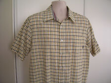 BILLABONG Men's LARGE Yellow Brown Plaid Short Sleeve Button Up Shirt Size L