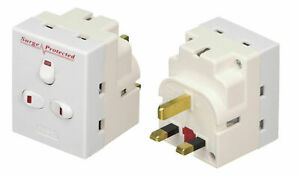 3 Way 13A Switches Surge Protected adaptor UK Mains Plug-in With Neon Switches