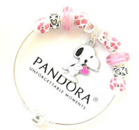 Authentic PANDORA Bracelet Silver with Snoopy Pink Heart European Charms NWT