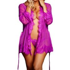 22530 - Purple sheer & floral lace Robe Dressing Gown Lingerie Underwear 10/12