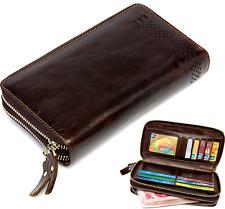 Vintage Genuine Cowhide Men's Travel Clutch Bag Leather Purse Bifold Wallet
