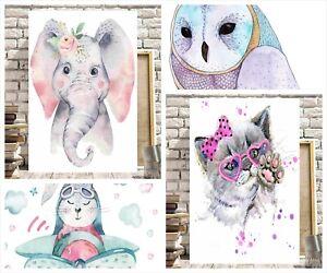 CUTE ANIMALS CANVASES UNICORN LLAMA CAT DOG OWL PRINCESS CHILDREN'S PICTURES