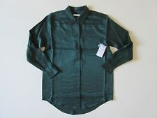NWT Equipment Daddy in Scarab Green Washed Silk Oversized Button Down Shirt XS