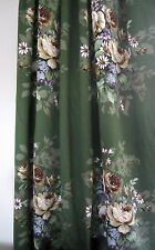 5.5m Sanderson ZEPHYR Upholstery Fabric Floral Dark Green Cotton Sateen Vintage