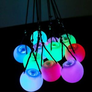 Belly Dance LED Glowing Balls Adjustable Color Props with Rope Ring Bright Light
