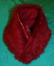 "Thin Maroon FauxFur Stole & RedCotton 18"" Supersize Barbie Tiffany Taylor SSC268"