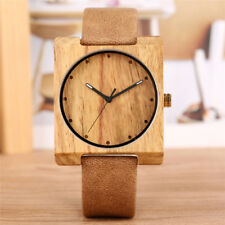 Creative Brown Wooden Watch Square Dial Design Eco-friendly Natural Watch Gifts