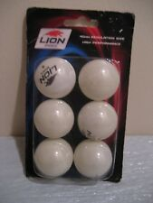 LION SPORTS ping pong balls high performance 6 each, new in sealed pack