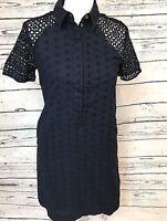 J.Crew Short Sleeve Lined Lace Dress, Navy Blue, Size 0