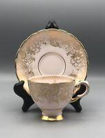 Vintage Tuscan Bone China Pink/Gold Teacup and Saucer