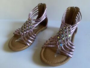 MIA Toddler Girl Gladiator Pink Rhinestone Sandals Size 7 Strappy Shoes EUC
