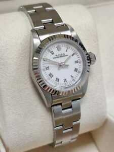 Rolex Oyster Perpetual Fluted White Roman 24mm Oyster Watch 67194 (128)