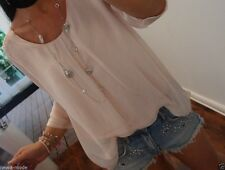 Shirt Neu S M L Seide Cotton Bluse Blogger Trend Tunika Spitze Musthave 38 I31BC