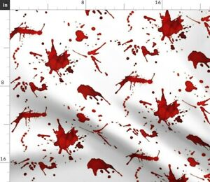 White Wall Walls Blood Blood Splatters Forensic Spoonflower Fabric by the Yard