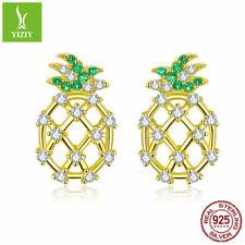 925 Sterling Silver Earrings Gold Summer Pineapple Women Ear Stud Jewelry Girls