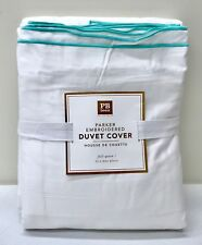 NEW Pottery Barn TEEN Parker Embroidered Sateen FULL/QUEEN Duvet Cover,~POOL