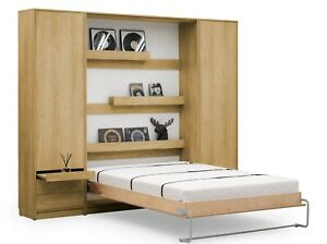 Small Double Vertical Wall Bed Murphy Bed Hidden Bed with Cabinets, Wardrobe