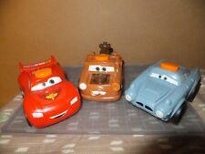 """Lot of 3 Disney Pixar Cars 5"""" Talking Flashilight Mater Lightning McQueen Finn"""