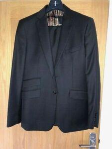 Ted Baker Black / Charcoal Mens Suit - Endurance Modern Fit Jacket 42R, 36 Waist