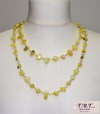 Collana Lunga Perle,Madreperla,Cristalli,Pietra Dura da Donna, Giallo