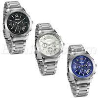 Men Luxury Business Roman Numberals Stainless Steel Quartz Wrist Watch With Date