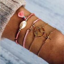 141e3db14c4e Para mujer joyas de oro de 4Pc Set Perla Borla amor del grano estrellas de  mar mapa Brazaletes
