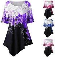 New Women Asymmetric Long Sleeve Floral Loose T Shirt Tunic Ladies Casual Blouse
