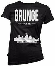 "T-SHIRT DONNA ""Grunge Since 1987"" maglietta 100% cotone - NERO"