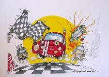 """disegno stampa Federico De Muro """" FIAT 500 ABARTH vs CITROEN 2CV """" art drawings"""
