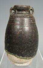 Thai Sukhothai Sawankhalok Brown glazed ceramic bottle lug handles 15-16th c.