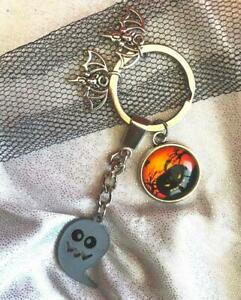 PUMPKIN GHOST Bat Spooky KEYRING Gothic Halloween Wicca Bag Witch Fob Magic