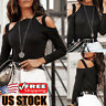 Women's Off Shoulder Long Sleeve Loose T-Shirt Ladies Straps Casual Blouse Tops