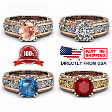 Women's Rose Gold Plated Cubic Zirconia Floral Cocktail Statement Ring