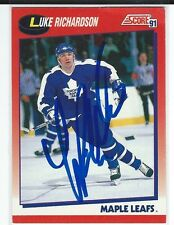 Luke Richardson Signed 1991/92 Score Canadian Card #139