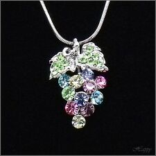 Grape Leaf Fruit Pendant Necklace Charm Austrian Crystal  Multicolor Silver Tone